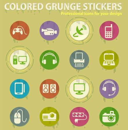 devices colored grunge icons with sweats glue for design web and mobile applications