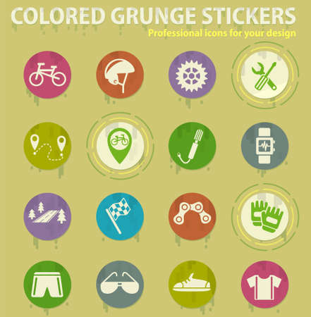 bicycle colored grunge icons with sweats glue for design web and mobile applications Illusztráció