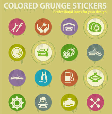 Auto Service colored grunge icons with sweats glue for design web and mobile applications