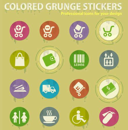 online store colored grunge icons with sweats glue for design web and mobile applications Illusztráció