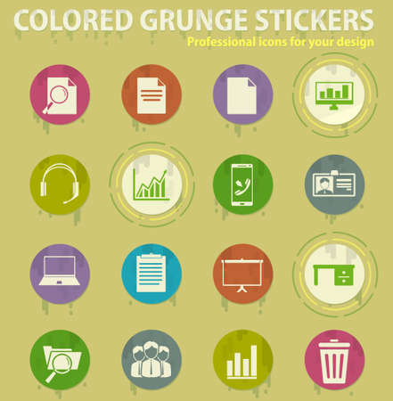 Office colored grunge icons with sweats glue for design web and mobile applications