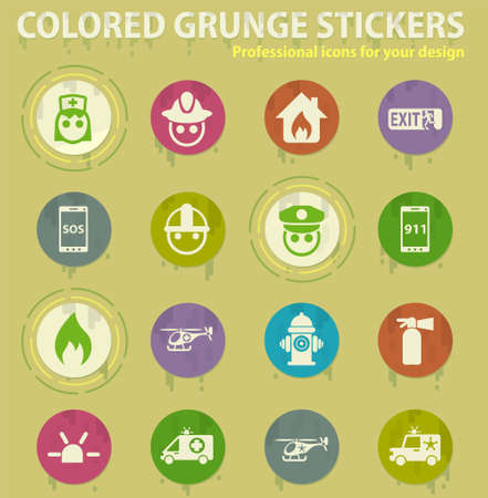 emergency colored grunge icons with sweats glue for design web and mobile applications Illusztráció
