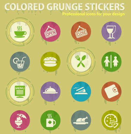 Cafe colored grunge icons with sweats glue for design web and mobile applications Illusztráció