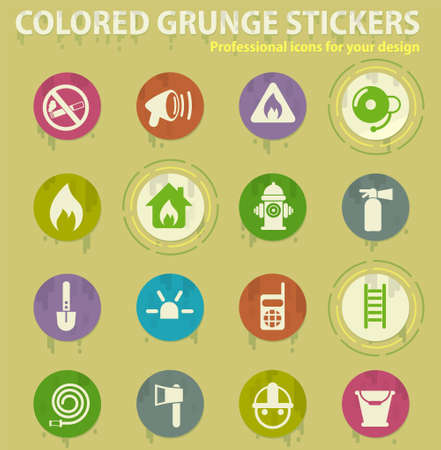 Fire brigade colored grunge icons with sweats glue for design web and mobile applications Illusztráció