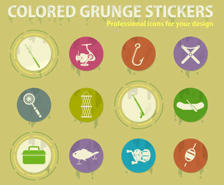 fishing colored grunge icons with sweats glue for design web and mobile applications Ilustração