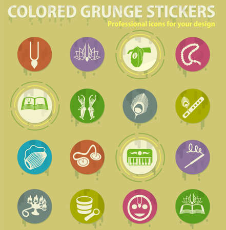 hare krishna colored grunge icons with sweats glue for design web and mobile applications