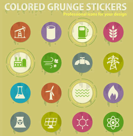 fuel and power colored grunge icons with sweats glue for design web and mobile applications