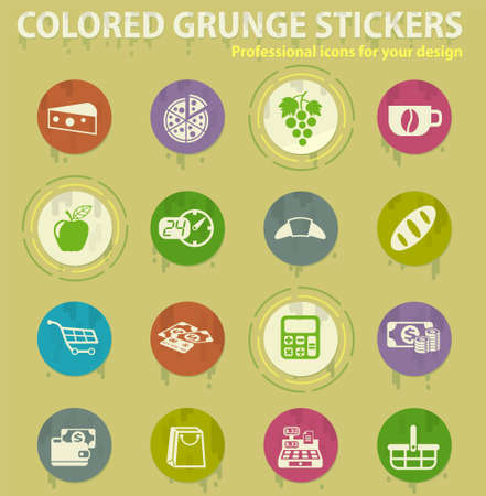 grocery colored grunge icons with sweats glue for design web and mobile applications