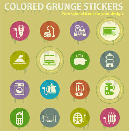Electronics supermarket colored grunge icons with sweats glue for design web and mobile applications Stock Illustratie