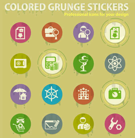 Work searches colored grunge icons with sweats glue for design web and mobile applications. Labor exchange Illusztráció