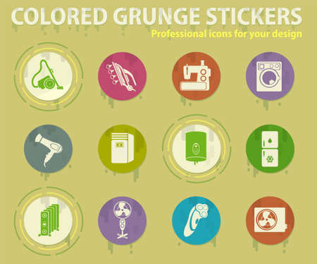 Home Appliances colored grunge icons with sweats glue for design web and mobile applications
