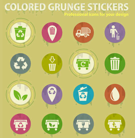 garbage web icons for user interface design Illustration
