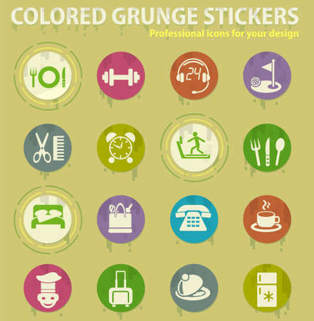 hotel service colored grunge icons with sweats glue for design web and mobile applications
