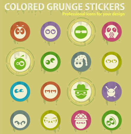emotions colored grunge icons with sweats glue for design web and mobile applications Illustration