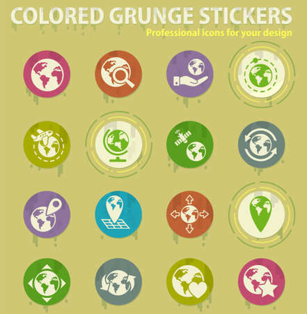 globes colored grunge icons with sweats glue for design web and mobile applications