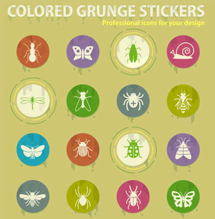 Insects colored grunge icons with sweats glue for design web and mobile applications