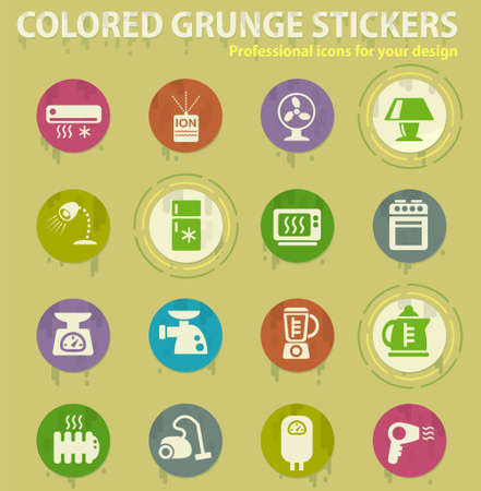 Home applicances colored grunge icons with sweats glue for design web and mobile applications