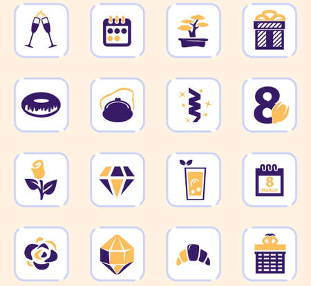 International Women's Day easy color vector icons for user interface design