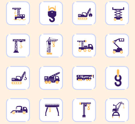 Crane and lifing vector icons for user interface design