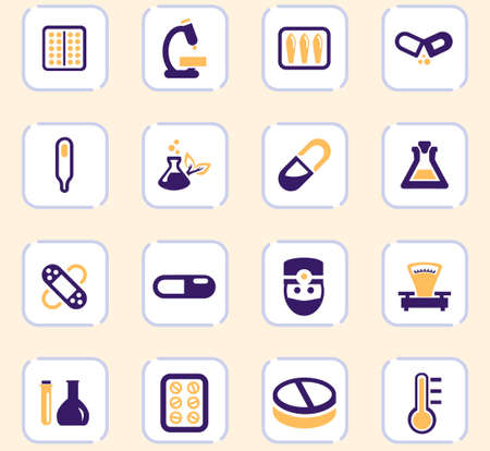 biology icon set for web sites and user interface  イラスト・ベクター素材