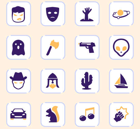 Set of movie genres color vector icons for user interface design Çizim