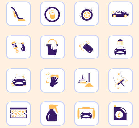 Car wash icon set for web sites and user interface Stock Illustratie