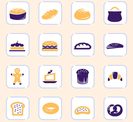 Bakery products color vector icons for user interface design
