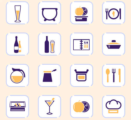 Food and kitchen web icons for user interface design Ilustrace