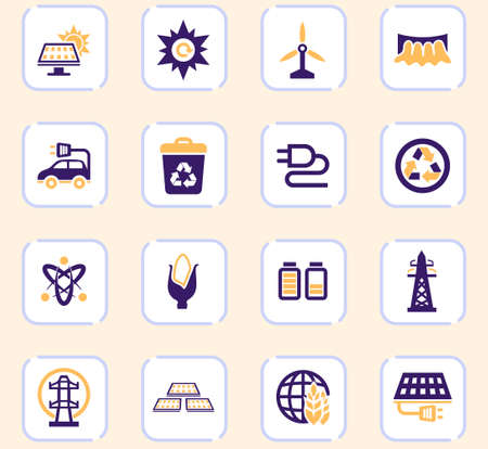 BIO Fuel industry icons set for web sites and user interface