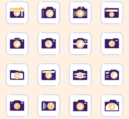 photo camera icon set for web sites and user interface