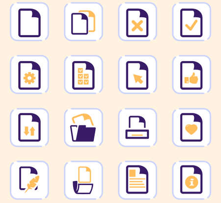 Documents vector icons for user interface design