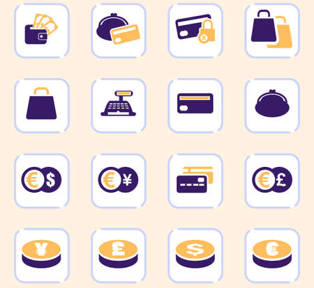 E-commers vector icons for user interface design Vettoriali