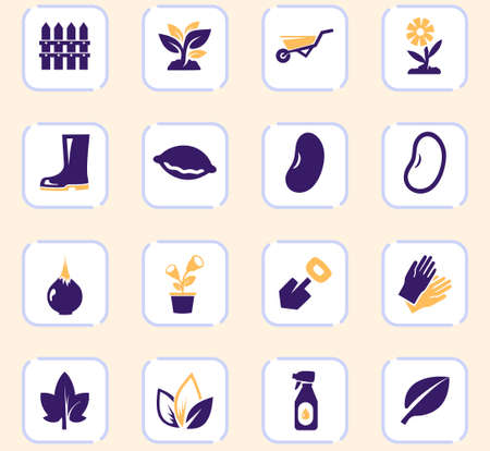 Gardening color vector icons for user interface design
