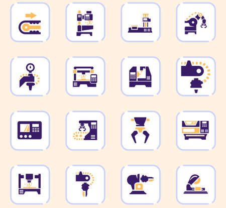 Vector machine tool icons set. Work and factory, production industrial technology, equipment construction illustration Ilustração