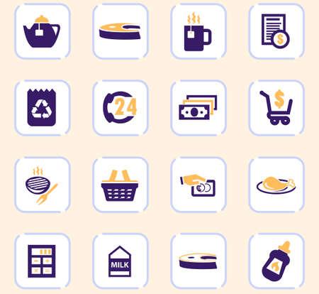 Grocery store vector icons for user interface design Vektorgrafik