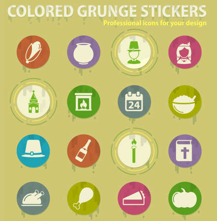 Thanksgiving colored grunge icons with sweats glue for design web and mobile applications Illustration