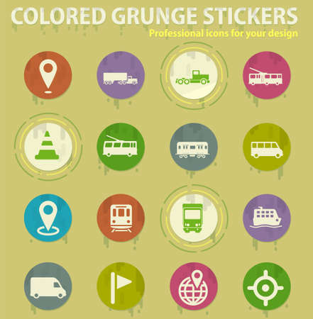 Navigation colored grunge icons with sweats glue for design web and mobile applications