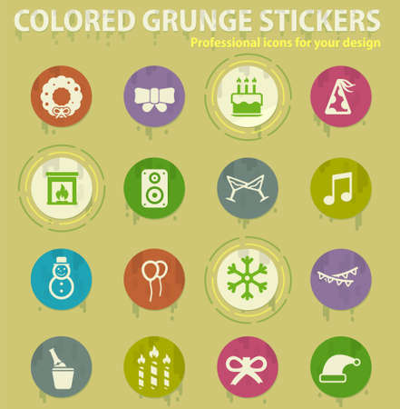 New year colored grunge icons with sweats glue for design web and mobile applications Иллюстрация