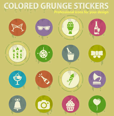Party colored grunge icons with sweats glue for design web and mobile applications