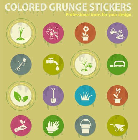 landscape design colored grunge icons with sweats glue for design web and mobile applications
