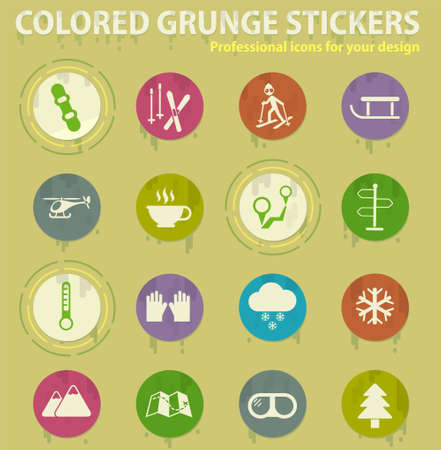 skiing colored grunge icons with sweats glue for design web and mobile applications
