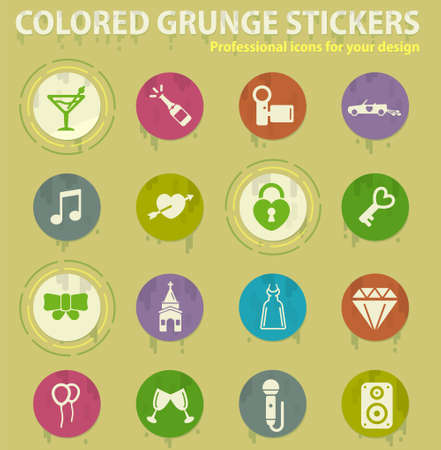 Wedding colored grunge icons with sweats glue for design web and mobile applications