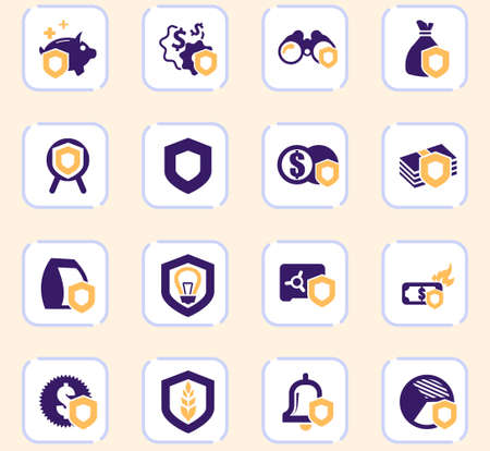 Insurance icons set for web sites and user interface