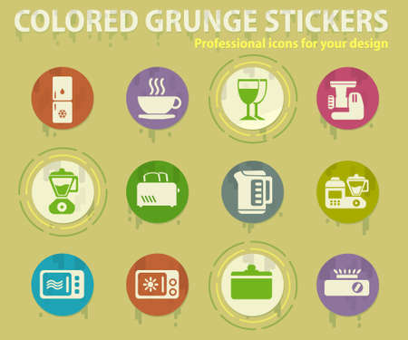 Kitchen Utensils colored grunge icons with sweats glue for design web and mobile applications
