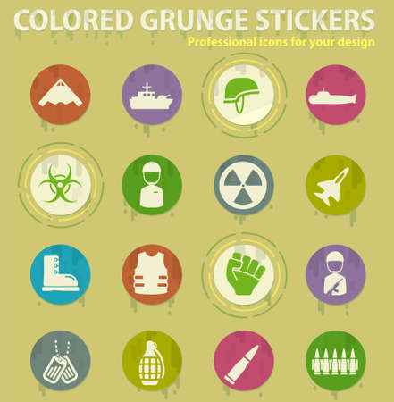 Military colored grunge icons with sweats glue for design web and mobile applications