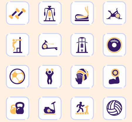 Sport equipments icons set for user interface Illustration