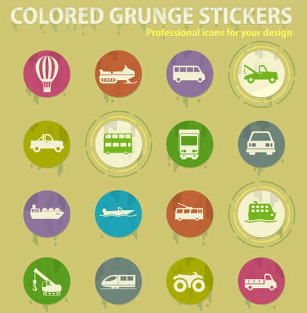 Transportation colored grunge icons with sweats glue for design web and mobile applications Иллюстрация