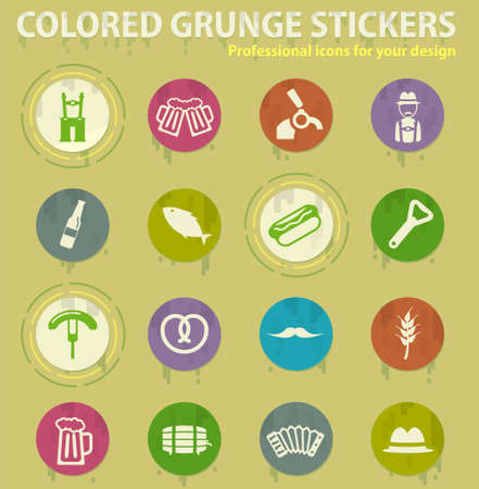 Oktoberfest colored grunge icons with sweats glue for design web and mobile applications
