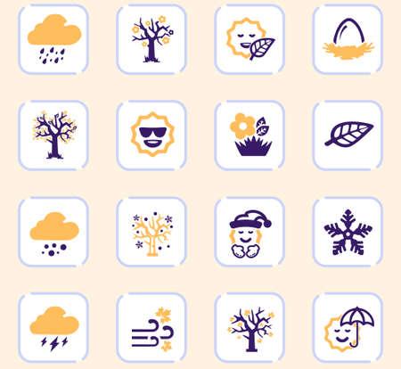 Seasons color vector icons for user interface design Ilustración de vector