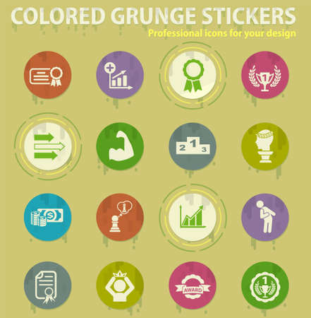 success colored grunge icons with sweats glue for design web and mobile applications